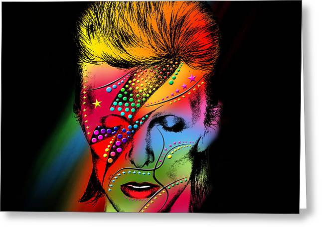 Modern Digital Art Digital Art Greeting Cards - David Bowie Greeting Card by Mark Ashkenazi