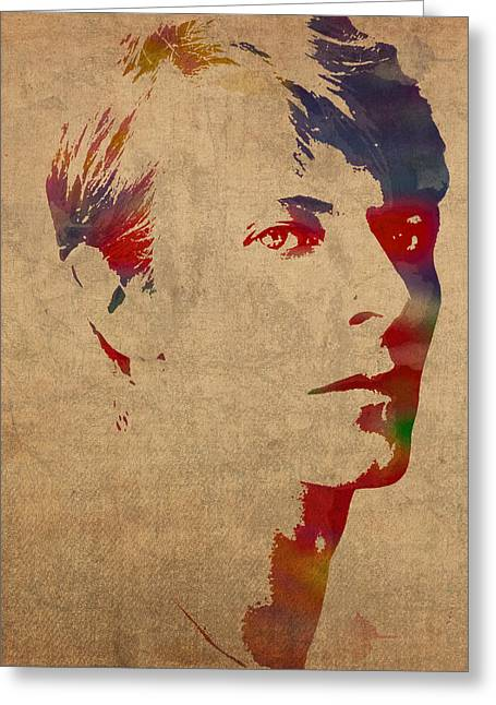 Bowie Greeting Cards - David Bowie Rock Star Musician Watercolor Portrait on Worn Distressed Canvas Greeting Card by Design Turnpike