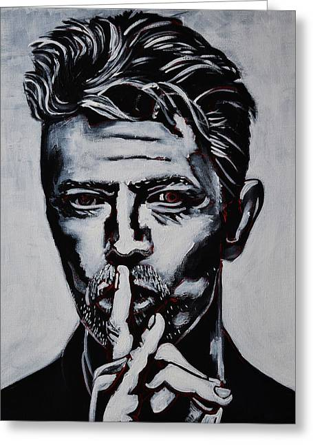 Shushing Greeting Cards - David Bowie Greeting Card by Stephen Humphries