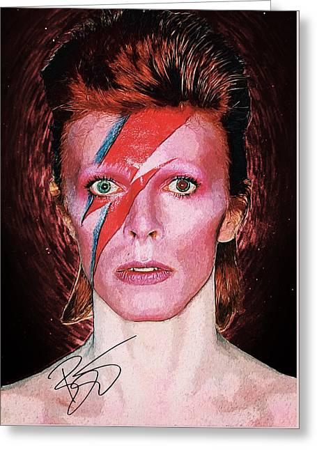 David Bowie Greeting Card by Taylan Soyturk