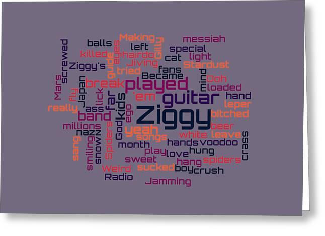 David Bowie - Ziggy Stardust Lyrical Cloud Greeting Card by Susan Maxwell Schmidt
