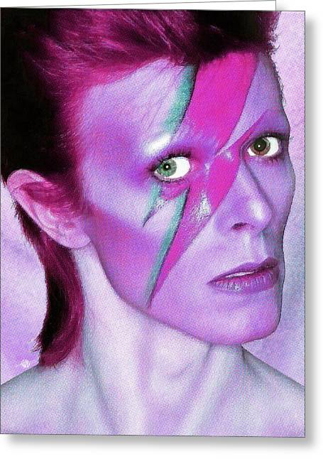 British Celebrities Greeting Cards - David Bowie Ziggy Stardust Purple Greeting Card by Tony Rubino