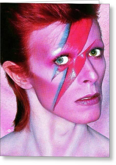 Ziggy Stardust Greeting Cards - David Bowie Ziggy Stardust Red Greeting Card by Tony Rubino