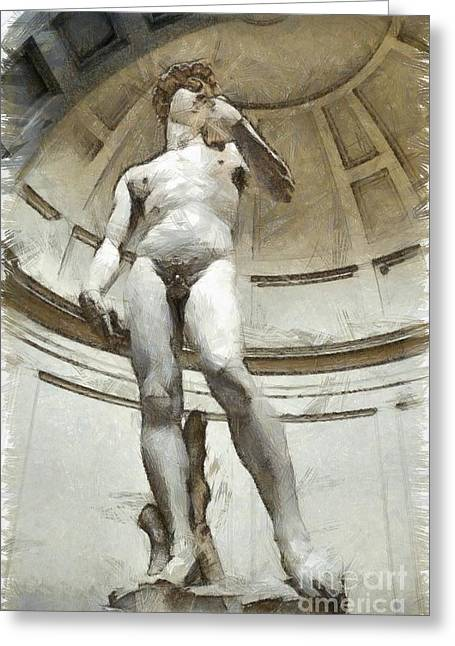 David By Michelangelo Pencil Greeting Card by Edward Fielding