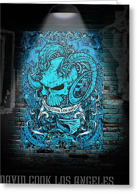David Digital Art Greeting Cards - David Cook Los Angeles Medieval Ram Skull Greeting Card by David Cook Los Angeles