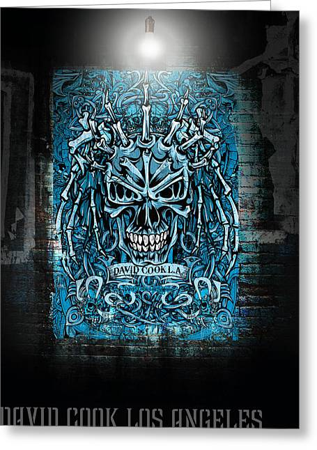 David Digital Art Greeting Cards - David Cook Los Angeles Medieval Skull Greeting Card by David Cook Los Angeles