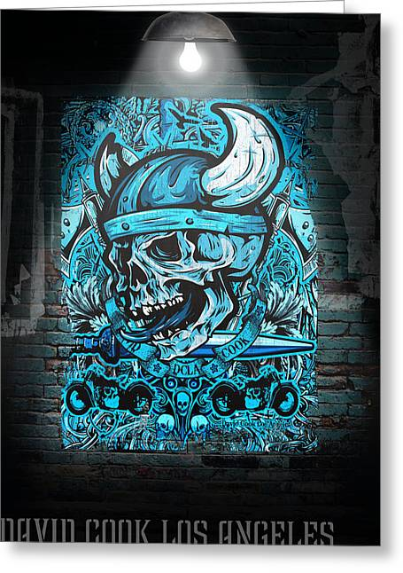 David Digital Art Greeting Cards - David Cook Los Angeles Viking Skull Greeting Card by David Cook Los Angeles