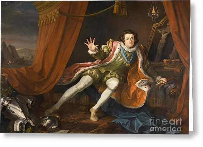 Hogarth Greeting Cards - David Garrick as Richard III  Greeting Card by William Hogarth