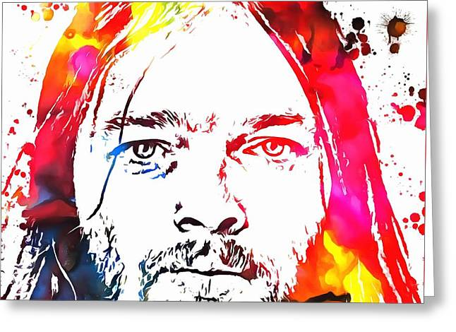 1970s Music Greeting Cards - David Gilmour Paint Splatter Greeting Card by Dan Sproul