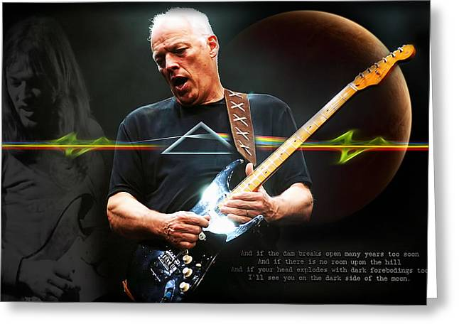 David Gilmour Greeting Card by Peter Chilelli