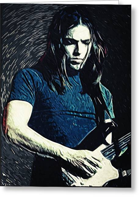 Cafe Digital Art Greeting Cards - David Gilmour Greeting Card by Taylan Soyturk