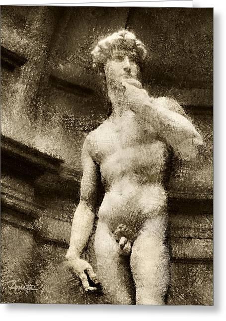 Renaissance Sculpture Greeting Cards - David No. 2 Greeting Card by Joe Bonita