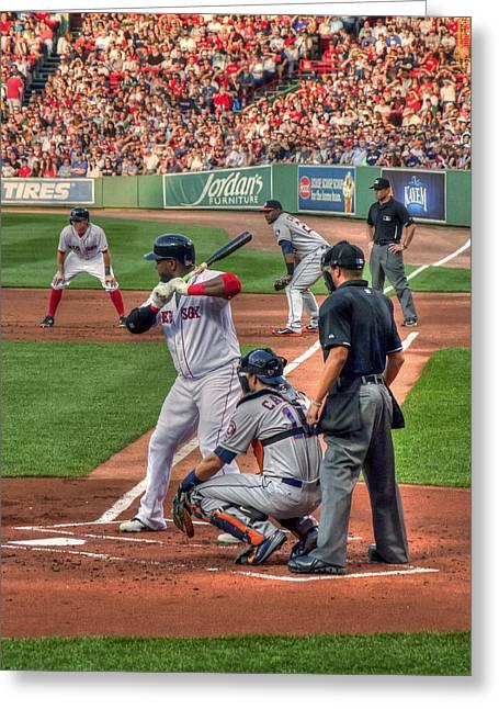 Fenway Park Greeting Cards - David Ortiz - Boston Red Sox  Greeting Card by Joann Vitali