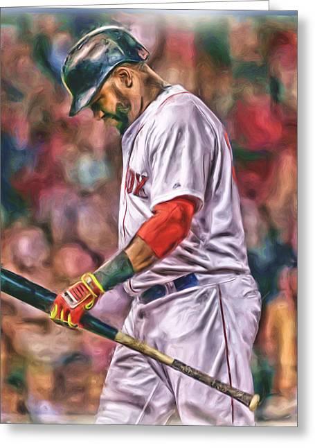 David Ortiz Boston Red Sox Oil Art 4 Greeting Card by Joe Hamilton