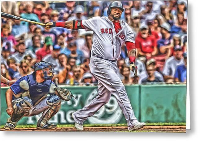 David Ortiz Boston Red Sox Oil Art 5 Greeting Card by Joe Hamilton