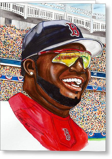 Mlb Paintings Greeting Cards - David Ortiz Greeting Card by Dave Olsen