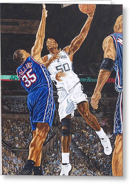 Nba Champs Greeting Cards - David Robinson Greeting Card by Roger W Price