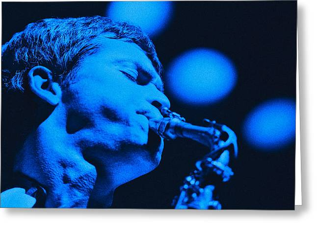 Jazz Greeting Cards - David Sanborn Blue Close Up Greeting Card by Philippe Taka