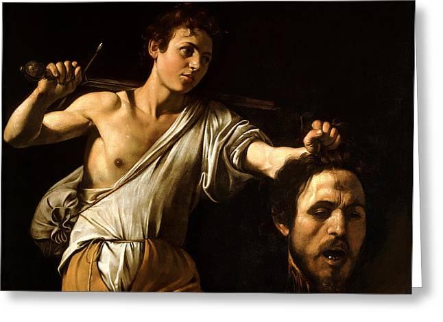 David Greeting Cards - David Showing Goliaths Head Greeting Card by Caravaggio