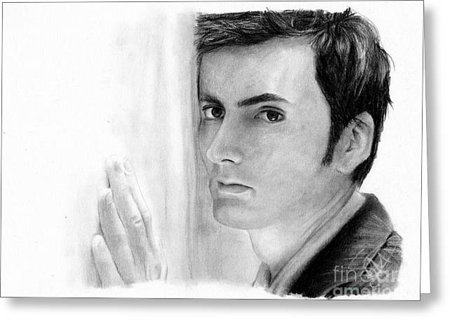 Charcoal Portrait Greeting Cards - David Tennant 2 Greeting Card by Rosalinda Markle