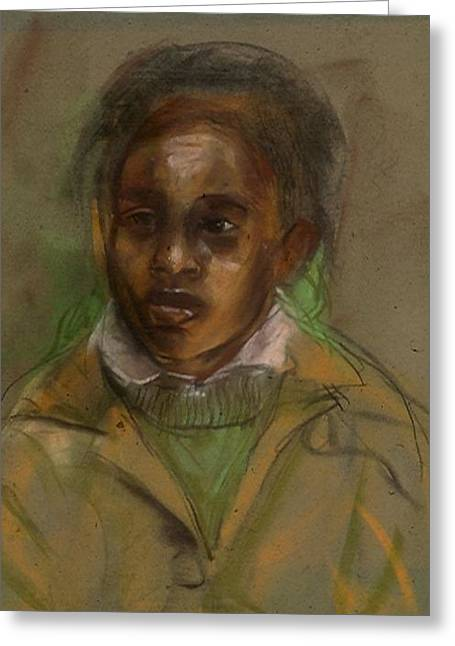 African-american Pastels Greeting Cards - David the Apt Pupil Greeting Card by John Robinson