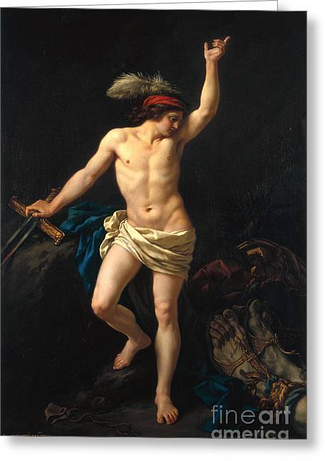 Slay Greeting Cards - David Victorious Greeting Card by Jean Jacques II Lagrenee