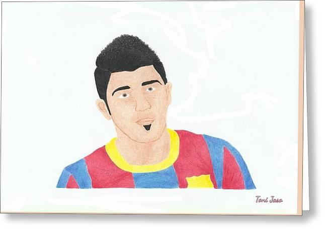 Player Drawings Greeting Cards - David Villa Greeting Card by Toni Jaso