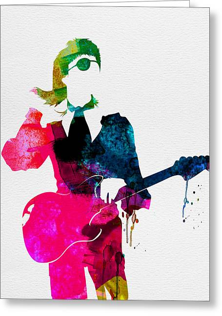Disco Greeting Cards - David Watercolor Greeting Card by Naxart Studio
