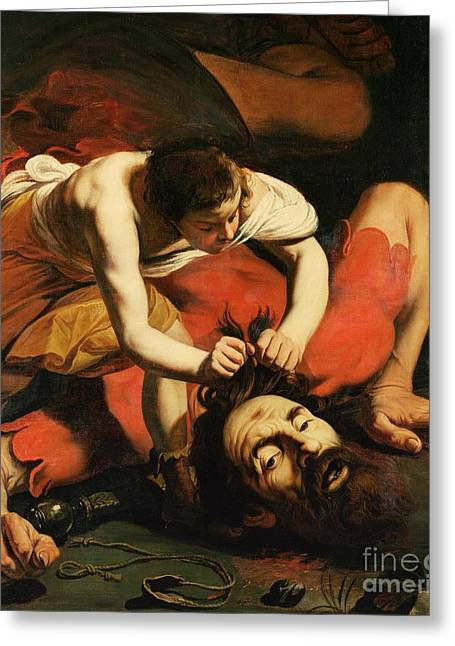 Overcome Greeting Cards - David with the Head of Goliath Greeting Card by Michelangelo Caravaggio