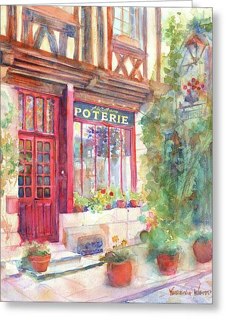 European Flower Shop Greeting Cards - Davids Europe 2 - A and C Squire Poterie European Street Scene Watercolor Greeting Card by Yevgenia Watts