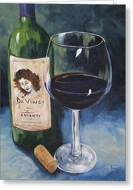 Chianti Bottle Greeting Cards - DaVinci Chianti for One   Greeting Card by Torrie Smiley