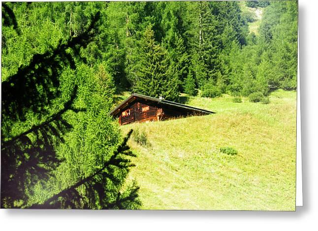 Swiss Photographs Greeting Cards - Davos Fluelatal Alpine Hut Greeting Card by Leone M Jennarelli
