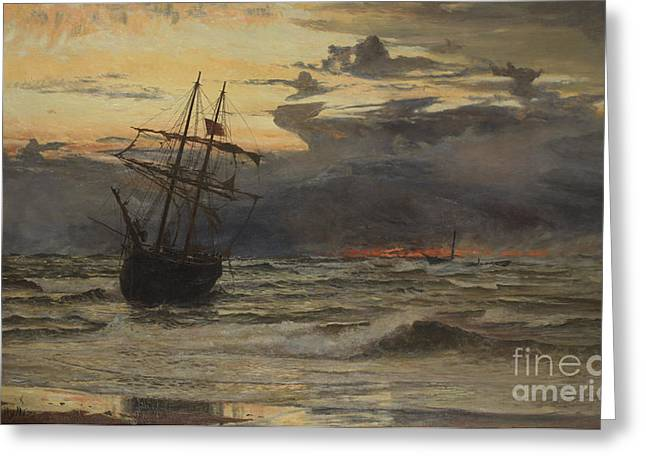High Seas Greeting Cards - Dawn After the Storm Greeting Card by William Lionel Wyllie