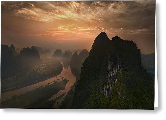 Dawn At Li River Greeting Card by Mieke Suharini