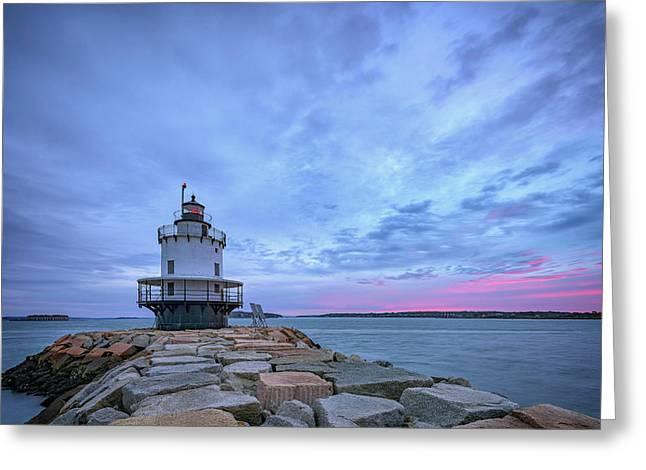 Dawn At Spring Point Ledge Lighthouse Greeting Card by Rick Berk