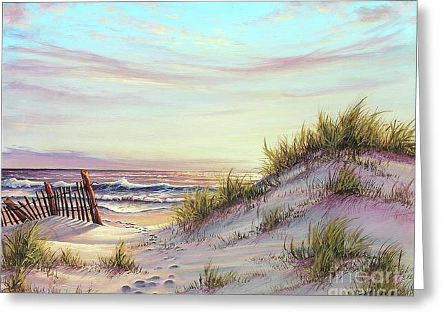 Sea Oats Greeting Cards - Dawn at the Beach Greeting Card by Joe Mandrick