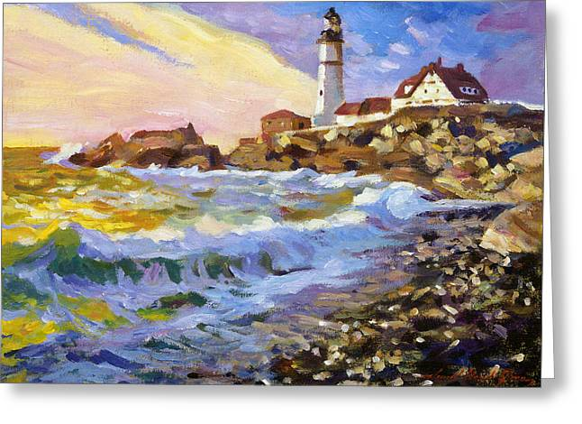 Dawn Breaks Cape Elizabeth plein air Greeting Card by David Lloyd Glover