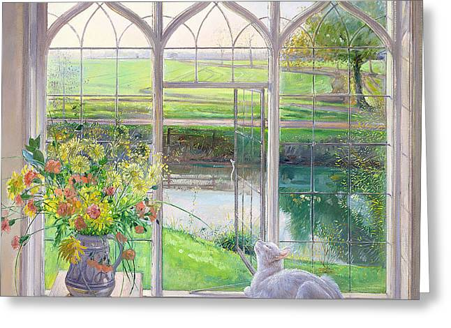 Vase Of Flowers Greeting Cards - Dawn Breeze Greeting Card by Timothy Easton
