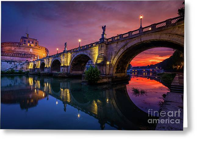 Dawn By The Tiber River Greeting Card by Inge Johnsson