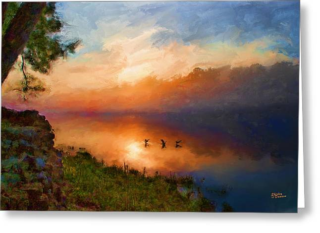 Dawn Flight Greeting Card by Shirley Dawson