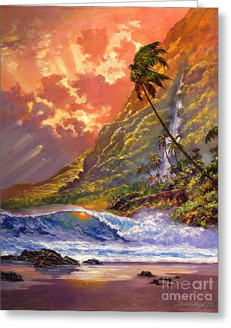 Beach Scenery Paintings Greeting Cards - Dawn in Oahu Greeting Card by David Lloyd Glover