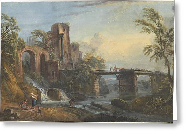 Prospects Greeting Cards - Dawn Landscape With Classical Ruins Greeting Card by Jean-baptiste Lallemand