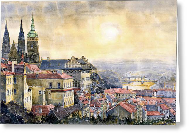 Buildings Paintings Greeting Cards - Dawn of Prague Greeting Card by Yuriy  Shevchuk