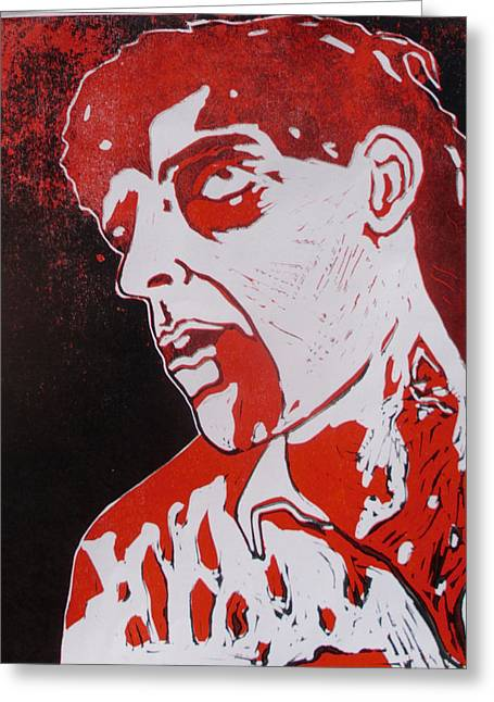 Recently Sold -  - Lino Greeting Cards - Dawn of the Dead print 1 Greeting Card by Sam Hane