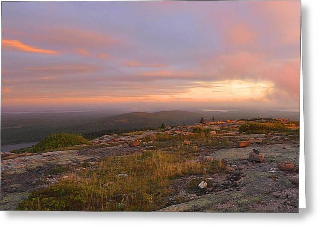 Maine Landscape Greeting Cards - Dawn On Cadillac Mountain Greeting Card by Stephen  Vecchiotti