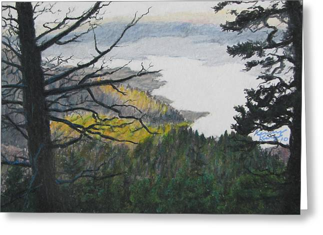 Prisma Colored Pencil Drawings Greeting Cards - Dawn Over Eagle Nest Lake Greeting Card by Kenny King