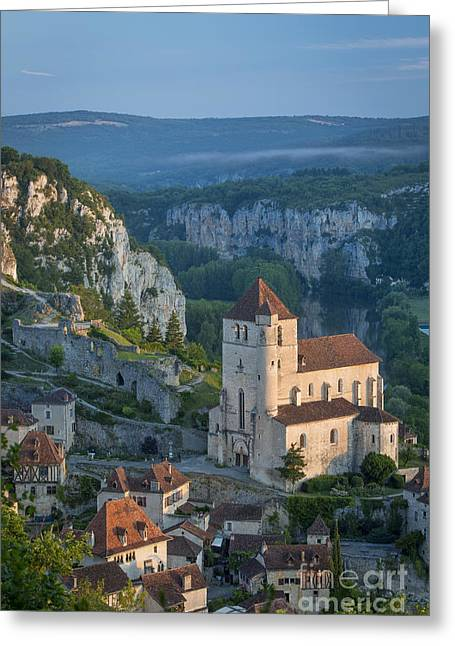 Vallee Greeting Cards - Dawn over Saint-Cirq-Lapopie Greeting Card by Brian Jannsen
