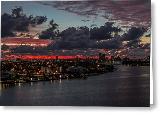 Dawn Pyrography Greeting Cards - Dawn Over The Bay Greeting Card by Satoshi Kina