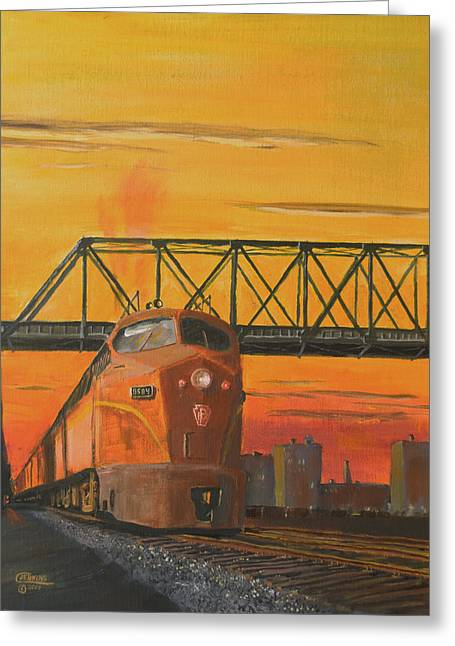 Diesel Locomotives Greeting Cards - Dawn Patrol Greeting Card by Christopher Jenkins