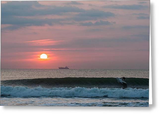 Ocean Art Photography Greeting Cards - Dawn Patrol Drop-in Greeting Card by AM Photography